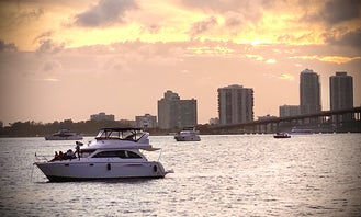 FALL SPECIAL BOOK MINIMUM 4 HOURS AND GET EXTRA HOUR ON US!!! Enjoy Miami by water on a 44' Meridian fly bridge,   You only pay $225 per hour to book, and $170 per hour for capt/mate fuel and cleaning direct to Captain prior charter day. Your Yacht comes with giant floating mat