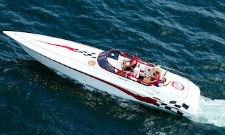 Fountain LIGHTNING 35' High Performance boat on Saratoga Lake.