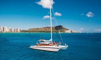 Custom Sailing Charter on 52' Classic Hawaiian Luxury Catamaran in Honolulu, Hawaii