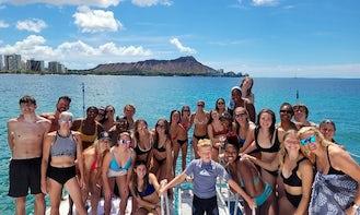 "43ft ""Aukai"" Power Catamaran Rental in Waikiki, Honolulu, Hawaii"