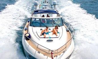 Charter 65' Princess V65 power yacht summer in Skiathos ..