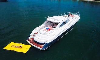 60' Sunseeker Predator Yacht + Floating island