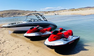 24ft Yamaha AR 240 party boat W/captain , JETSKI ALSO AVAILABLE,  Tubing, wakeboarding, sand toys, a day of fun on Lake mead